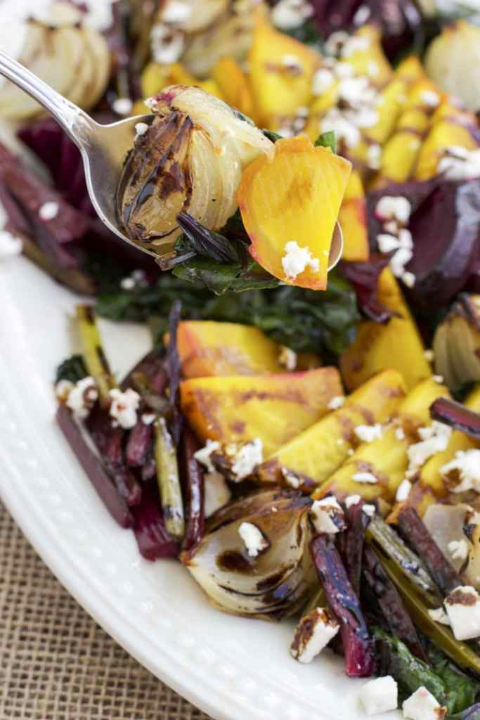 Roasted beet & onion salad with feta & balsamic drizzle