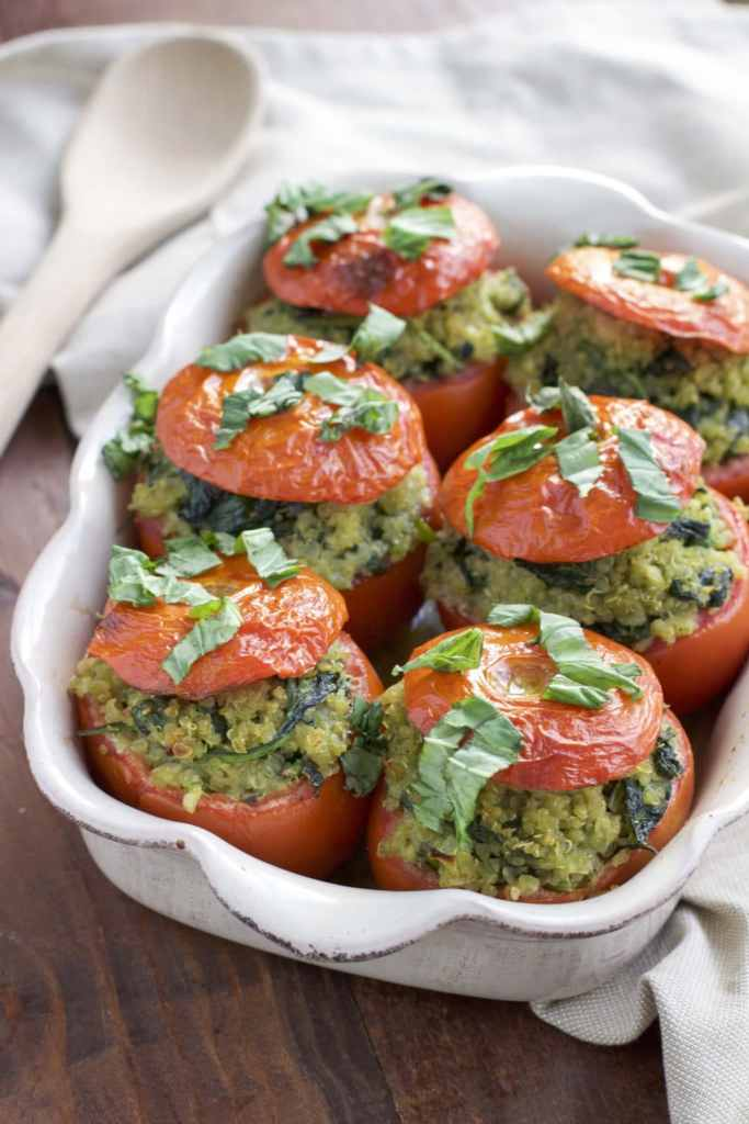 Roasted Quino Stuffed tomatoes with basil