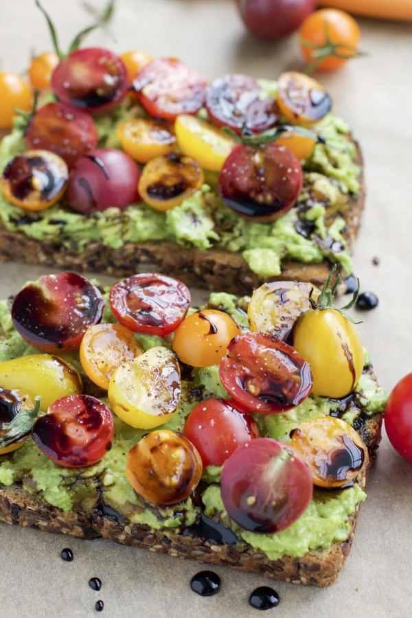 cherry tomato balsamic avocado toast
