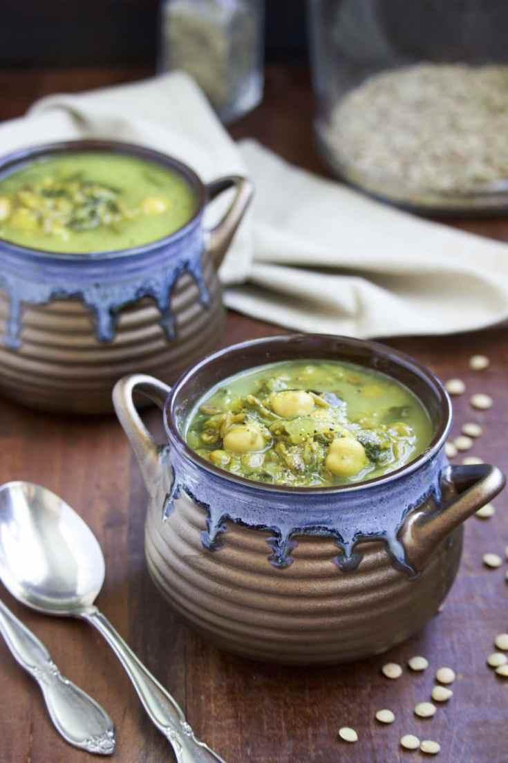 Creamy Chickpea Green Lentil Soup