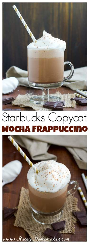 This Starbucks mocha frappuccino copycat recipe is my go-to drink when I'm craving a healthy afternoon caffeine boost. Creamy coconut milk, aquafaba whipped cream and NO added sugar!