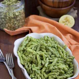 Mix this flavorful vegan basil pesto sauce made with pumpkin seeds with your favorite pasta for a quick & healthy dinner! Dairy-free & vegan.