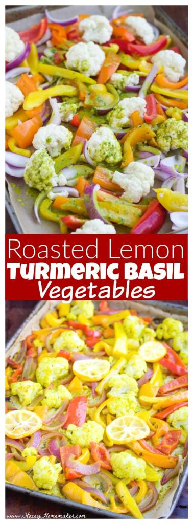 Roasted lemon turmeric basil vegetables are coated in a bright & tangy sauce. Pair it with a quinoa bowl, chicken or fish for a healthy dinner! Vegan.