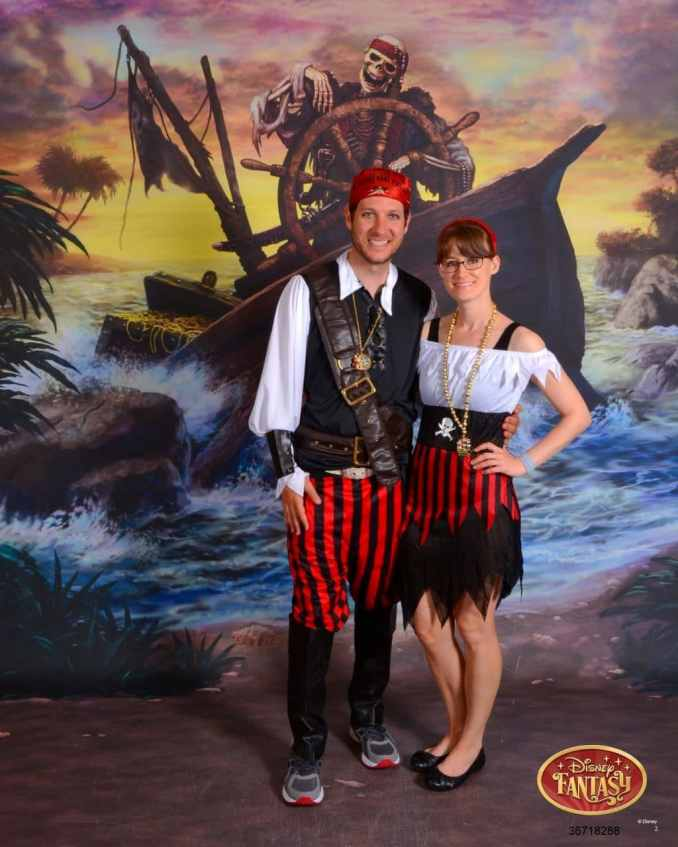 Our Disney cruise pirate night was jam-packed with activities! Pirate shows, costumes, pirate-themed dinner + fireworks at sea! You need my list of 10 things to pack for Pirate Night!