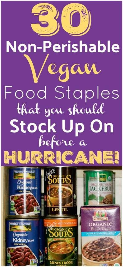 Vegan Hurricane Food Supply List