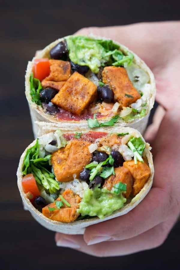 Healthy vegan sweet potato black bean burrito.