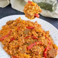 Vegan Sausage and Peppers with Rice