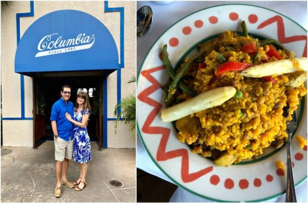 A happy couple standing at the entrance to Columbia restaurant and a dish of the Columbia's vegetable paella.