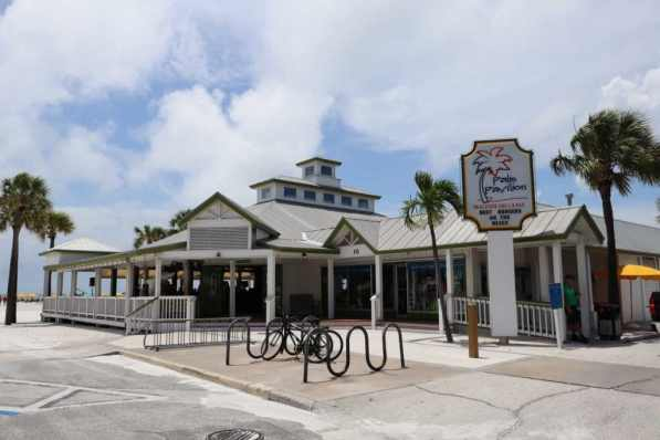 Outside shot of the Palm Pavillion restaurant on Clearwater Beach.