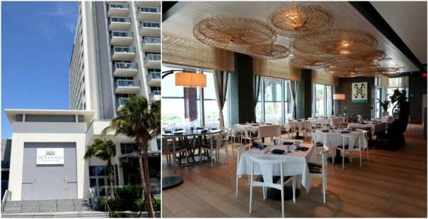 The entrance and inside view of the Ocean Hai restaurant on Clearwater Beach, Florida.