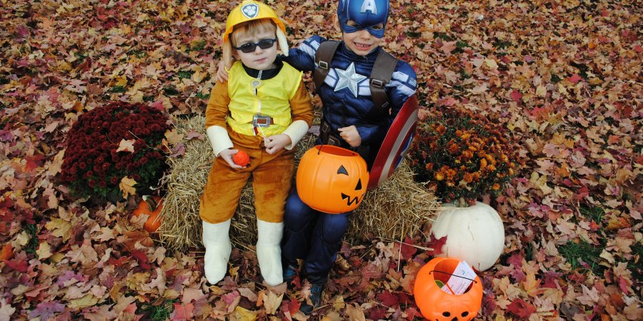 adorable trick or treaters boys in autumn setting fall health and wellness scene