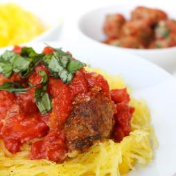 Healthy Meatballs Over Spaghetti Squash