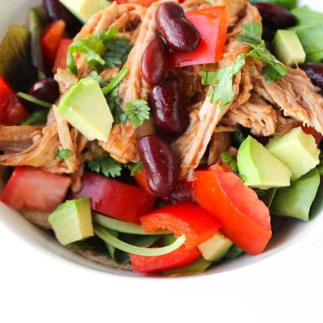 Taking mytacotuesday saladform! Skinnied down copycat Cafe Rio pulled porkhellip