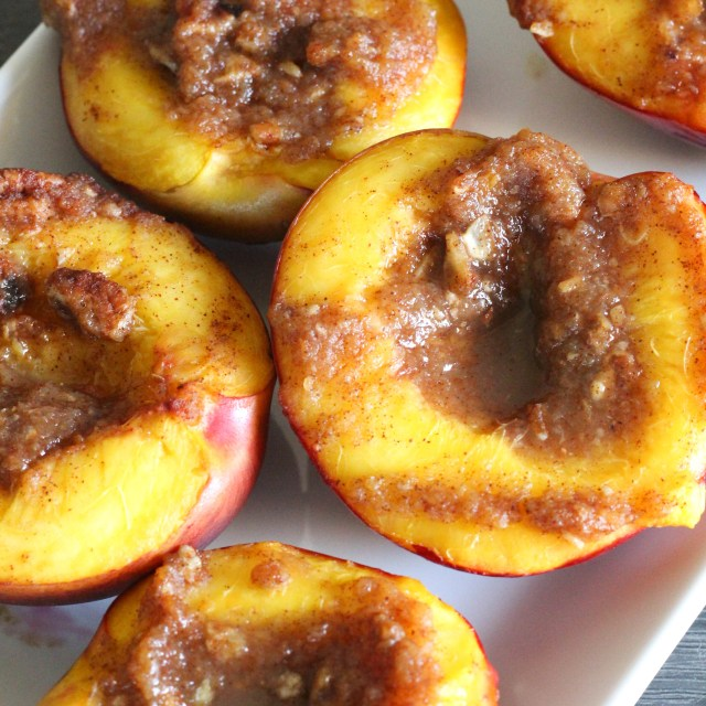 Roasted Nectarines with Cinnamon and Pecan Glaze | Vegetarian, Vegan, No Added Sugar