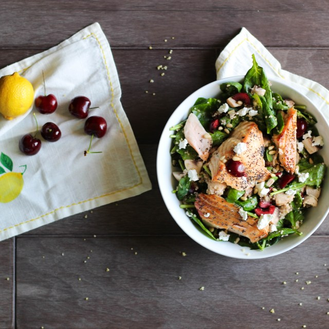 Honey-Glazed Poppy Seed Salmon Salad by Stacey Mattinson, MS, RDN, LD