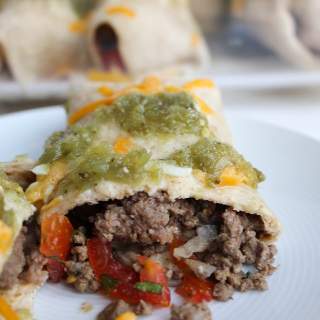 Lean Beef Burritos with Enchilada Sauce