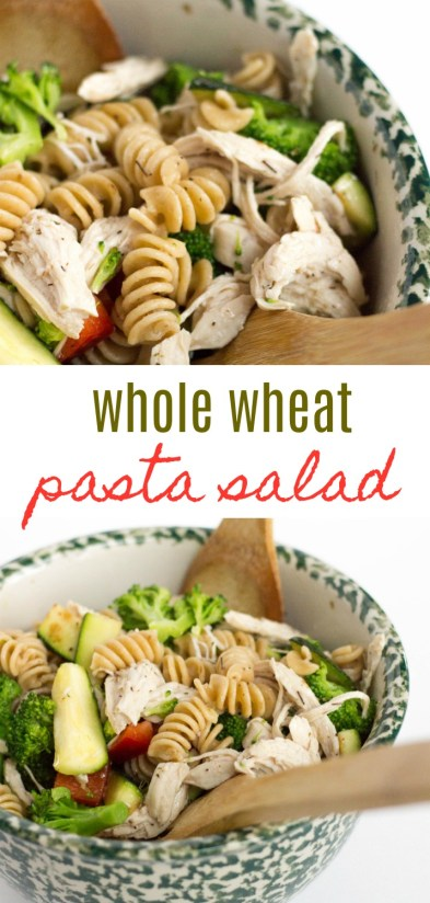 Put pasta back on the menu with this healthy whole wheat pasta salad, with chicken and loaded with veggies. It's a crowd pleaser! | Healthy Whole Wheat Pasta Salad by Stacey Mattinson Nutrition