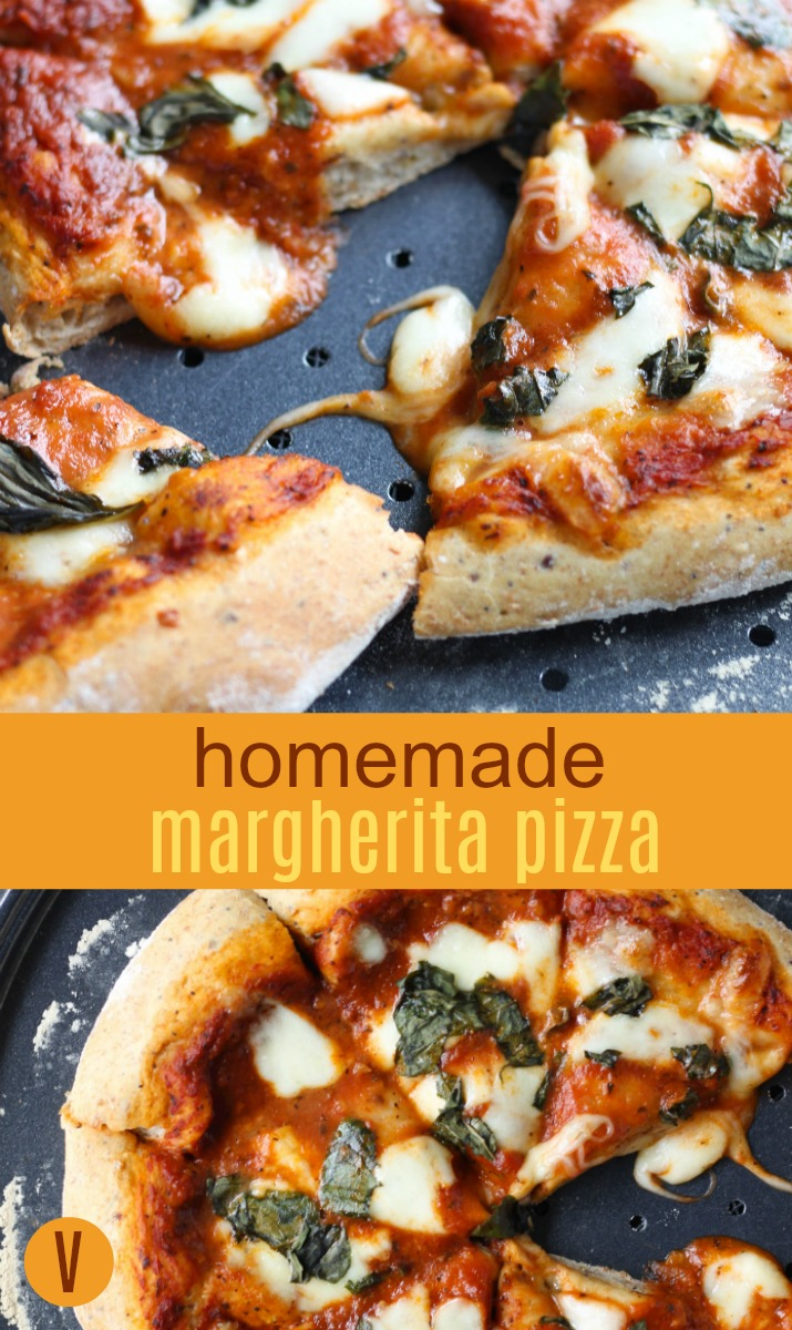 Calling all PIZZA lovers! This homemade margherita pizza is simple and delicious. Homemade Margherita Pizza | Vegetarian by Stacey Mattinson Nutrition