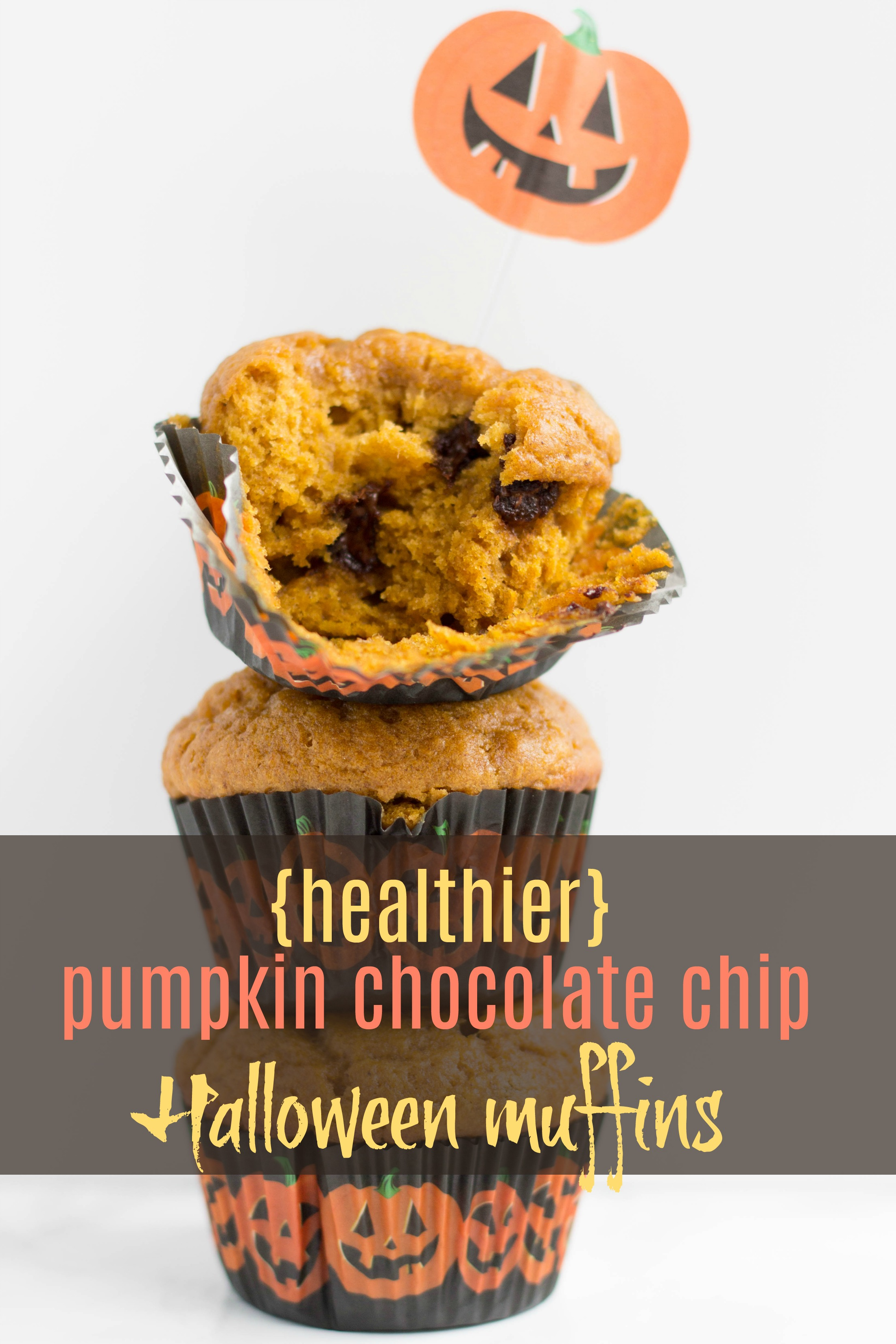 A simple to make, shareable Halloween treat with a lightened up recipe! Bake time is only 25 minutes. So yummy! | Healthier Pumpkin Chocolate Chip Halloween Muffins | Stacey Mattinson Nutrition