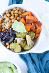 Warm Winter Veggie Bowl with Quinoa and Creamy Avocado Dressing by Stacey Mattinson Nutrition