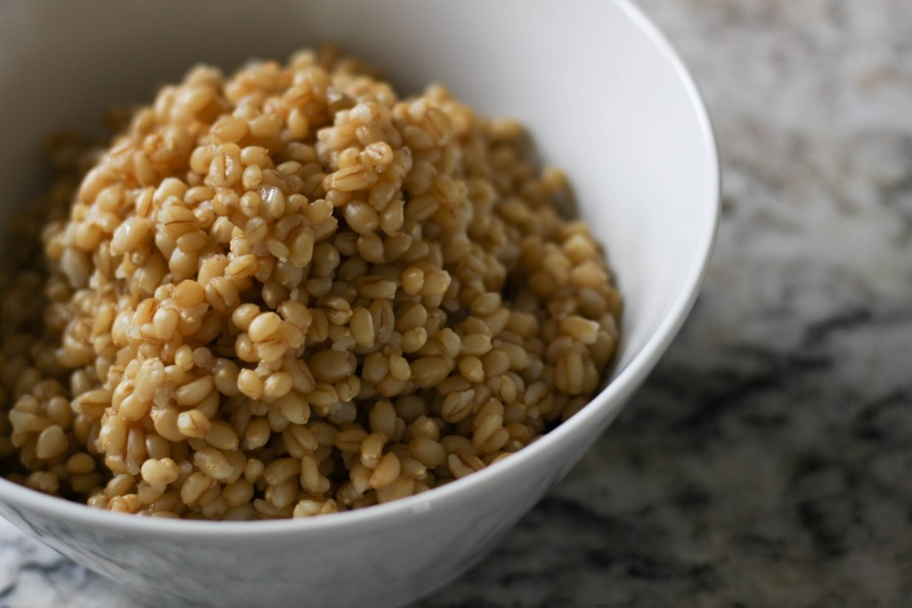 Wheat berries cooked in the Instant Pot close up in a white bowl