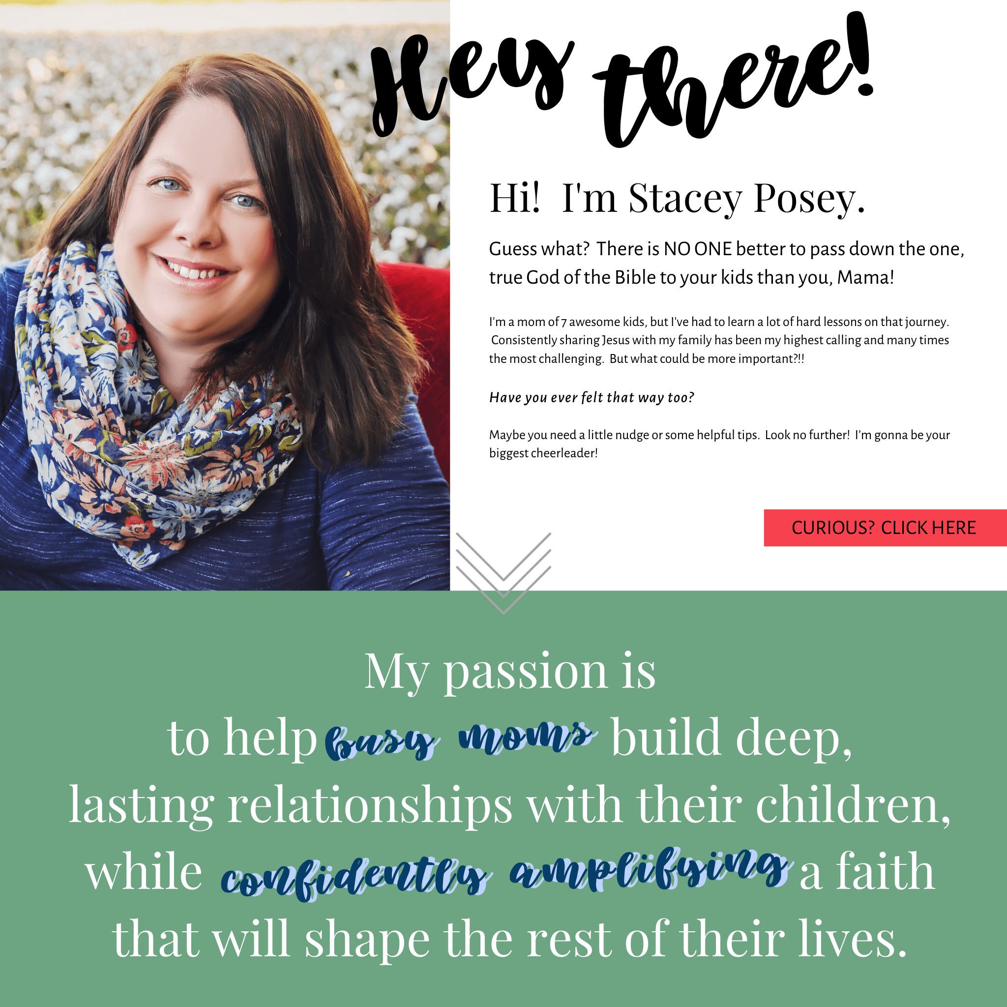 My passion is to help busy moms build deep, lasting relationships with their children, while confidently amplifying a faith that will shape the rest of their lives.