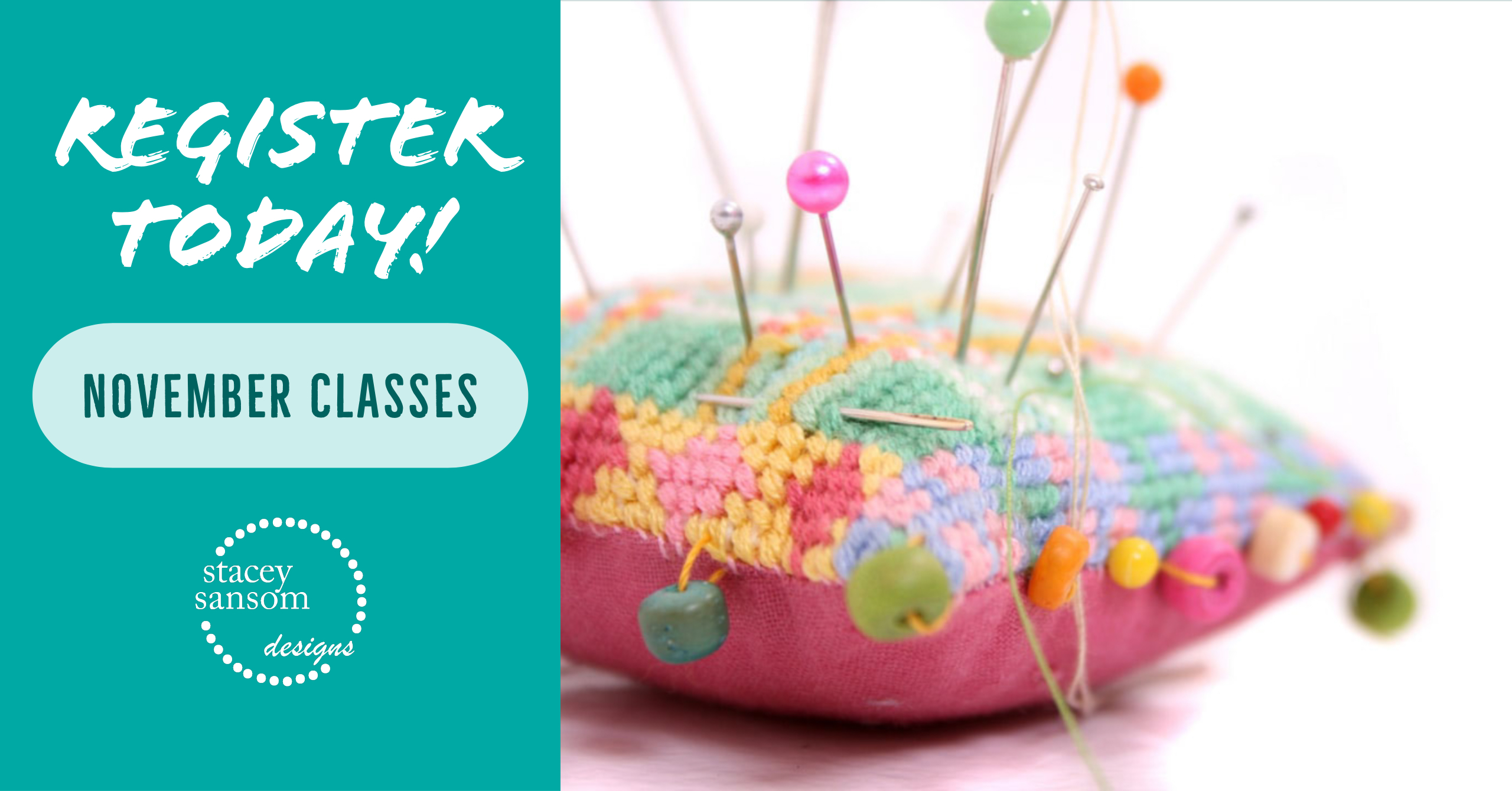 Register today for November sewing classes at Stacey Sansom Designs