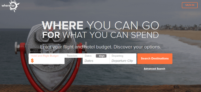 "<a target=""_blank"" href=""https://www.wherefor.com/"">WhereFor lets you choose a destination based on your budget.</a>"