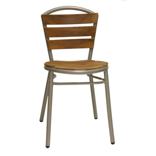 Bistro Style Teak Wood And Aluminum Side Chair