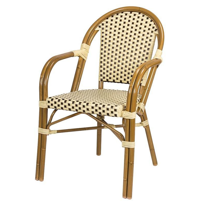 paris indoor outdoor stackable arm chair with light bamboo aluminum frame cream and chocolate