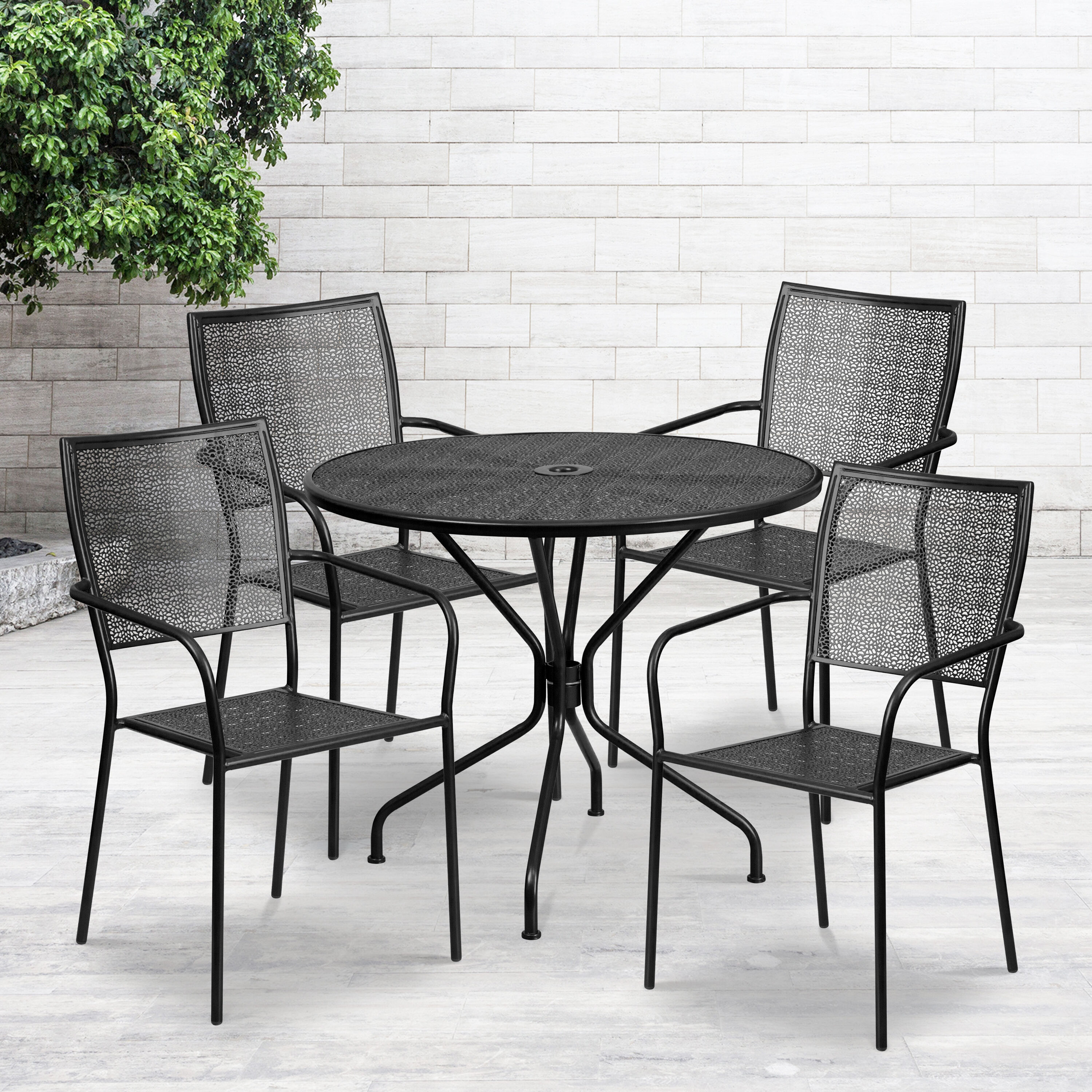 commercial grade 35 25 round black indoor outdoor steel patio table set with 4 square back chairs