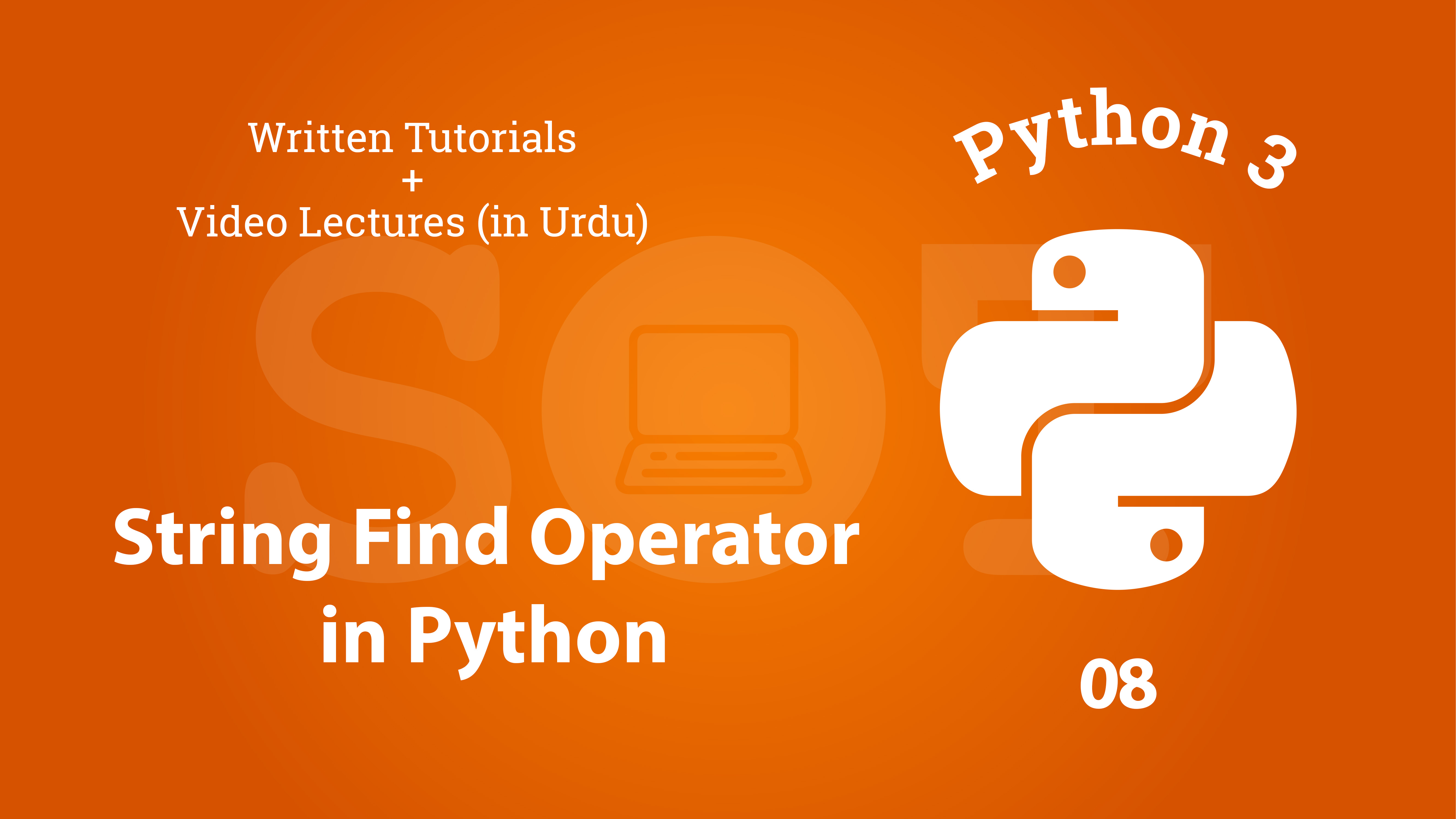 Python String Find operator - written tutorial with video