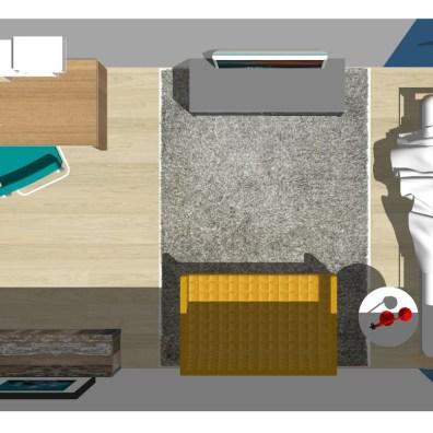 Voorbeeld indeling Kleine Kamer Bovenaanzicht