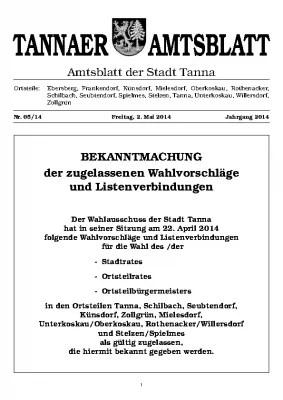 Bekanntmachtung Wahl Mai 2014