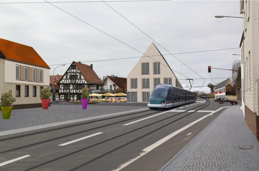 So könnte es aussehen: Eine zeigleisige Straßenbahnstrecke in Straßenlage durchfährt den ältesten Teil Griesheims