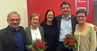 SPD München Vorstand Roland Fischer, Heide Rieke, Claudia Tausend, Florian von Brunn, Isabell Zacharias