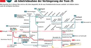 Anpassung Busnetz nach Inbetriebnahme Verlängerung Tram 25 Steinhausen Quelle Grafik MVG
