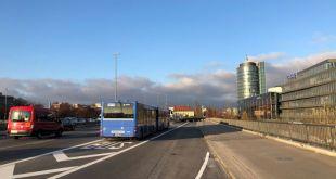 Neue Busspur auf der Donnersberger Brücke verkürzt die Fahrzeit in Spitzenzeiten um durchschnittlich um bis zu sechs Minuten.