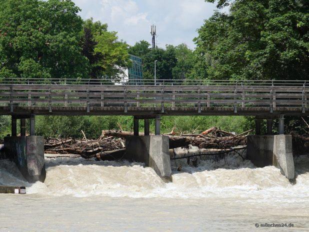 Die Isar führt Hochwasser - Treibgut am gesperrten Flauchersteg