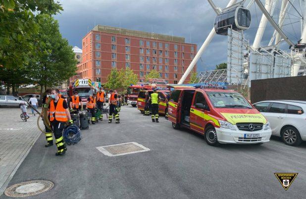 Hoher Wasserschaden im Hotel Hochhaus im Werksviertel