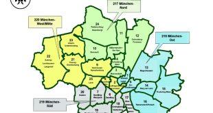 Wahlkreiskarte München Bundestagswahl 2021