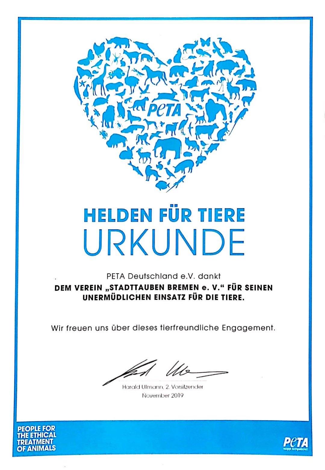 Helden für Tiere Urkunde für Stadttauben Bremen e.V.