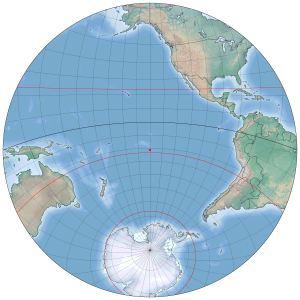 Antipoda dari Ka'bah adalah titik di pusat lingkaran ini. Sumber: http://www.staff.science.uu.nl/~gent0113/islam/qibla.htm