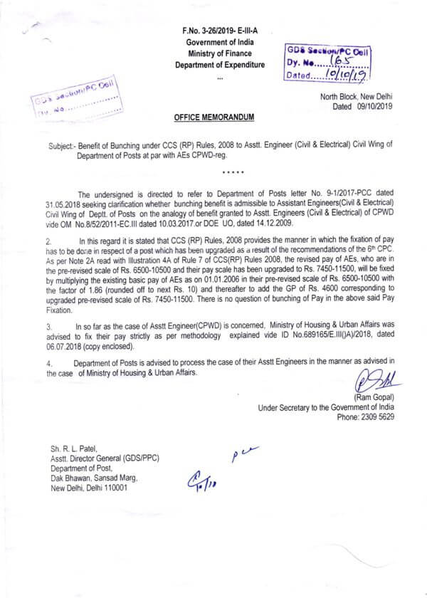 Clarification on grant of benefit of bunching in 6th CPC pay fixation in case of pre-revised scale of Rs. 6500-10500 upgraded to Rs 7450-11500
