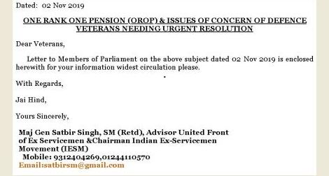 Latest: One Rank One Pension and issues of concern of Defence Veterans needing urgent resolution – IESM writes to MPs