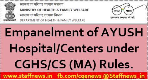 Empanelment of AYUSH Hospital in Bangalore & Hyderabad under CGHS / CS(MA) Rules