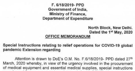 Special Instructions Relating to COVID Relief – Extension of Time on Procurement: Finance Ministry OM 01.05.2020