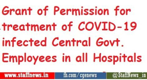 Grant of Permission for treatment of COVID-19 infected Central Govt. Employees in all Hospitals: Confederation writes to Cabinet Secretary