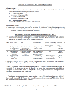 Kendriya Vidyalaya Registration form for Class XI-1