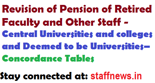 Revision of Pension of Retired Faculty and Other Staff – Central Universities and colleges and Deemed to be Universities– Concordance Tables